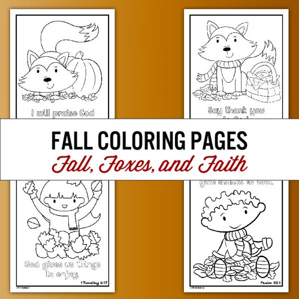fall coloring pages featuring foxes and kids playing in the leaves