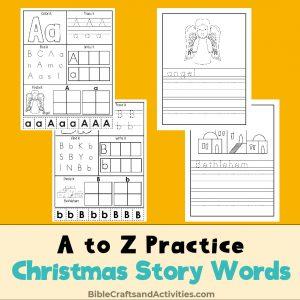 preschool a to z practice christmas story words