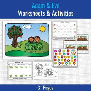 samples of preschool printables included with the Adam & Eve lesson