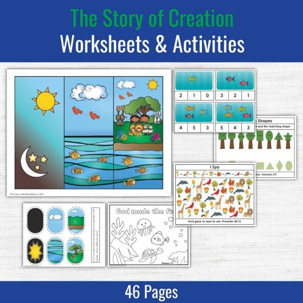 samples of preschool printables included the story of creation lesson