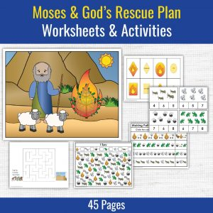 preschool printables for moses and the burning bush and the ten plagues