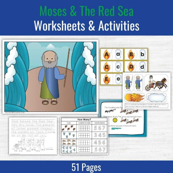 preschool printables for moses and the red sea