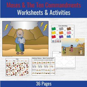 preschool printables for moses and the ten commandments