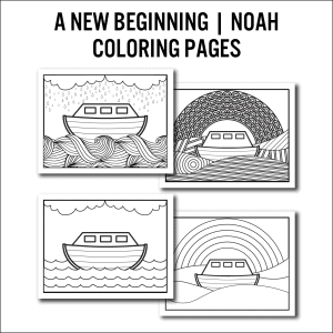 noah and the rainbow four coloring pages